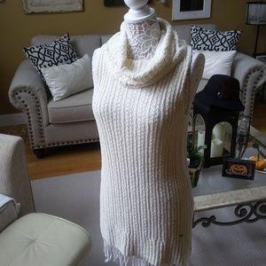 IVORY Knit SLEEVELESS Long TUNIC SWEATER SZ L
